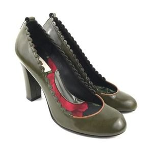 Kenzo Scalloped Leather Pumps Heels Size FR 37